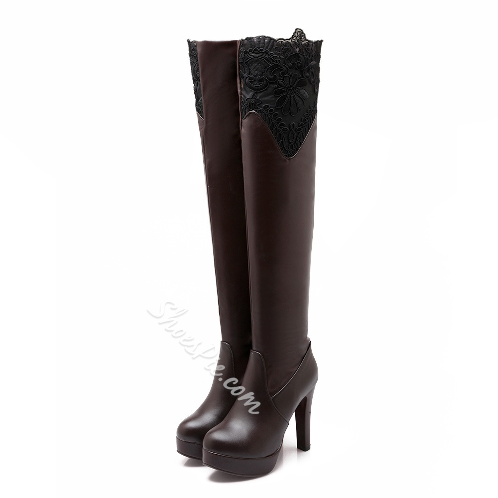 Shoespie Chic Lace Inset Platform Over the Knee Boots