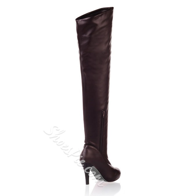 Shoespie Solid Color Over Knee High Boots