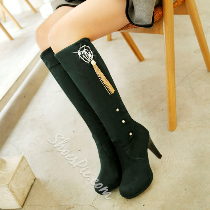 Shoespie Casual Street Style Mid Heel Knee High Boots