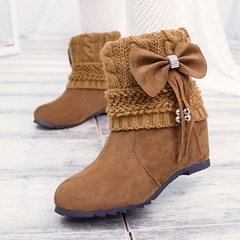 Sweet Korean Style Bowtie Decoration Snow Boots