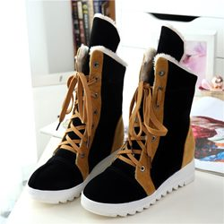 Shoespie Nubuck Contrast Colors Snow Boots