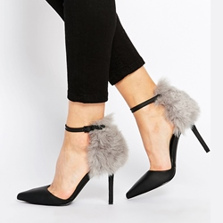 Shoespie Fur Pointed toe Stiletto Heels