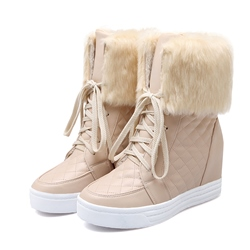 Shoespie Plush Lattice Snow Boots