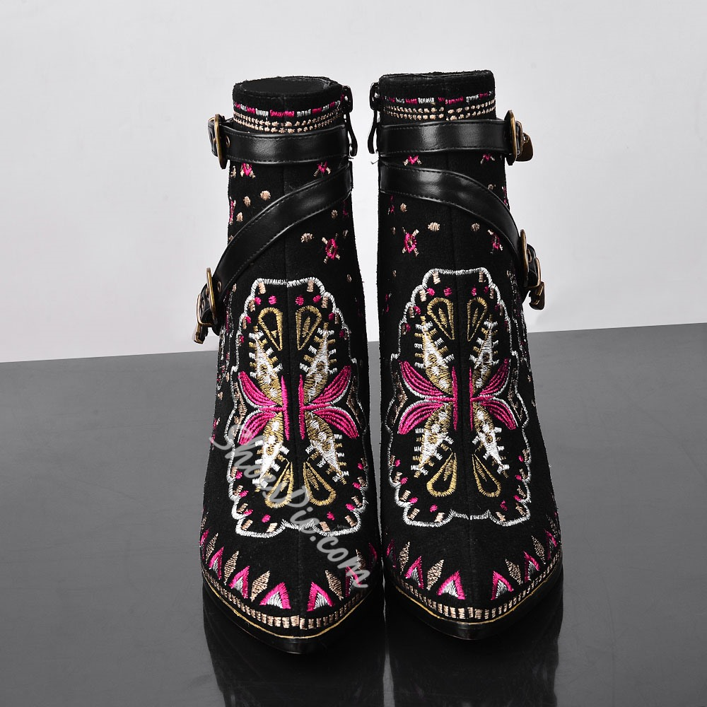 Shoespie Print Pinted toe Stiletti Heel Ankle Boots