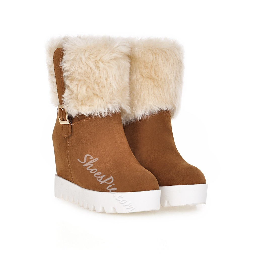 Shoespie Nubuck Buckles Plush Wedge Snow Boots