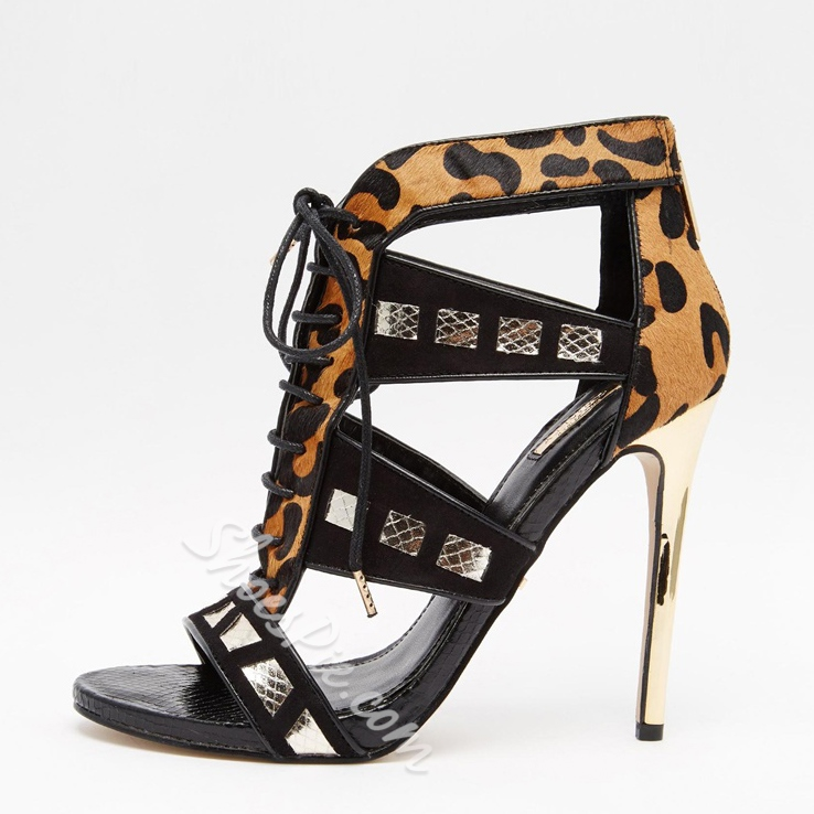 Shoespie Leopard Lace-up Dress Sandals