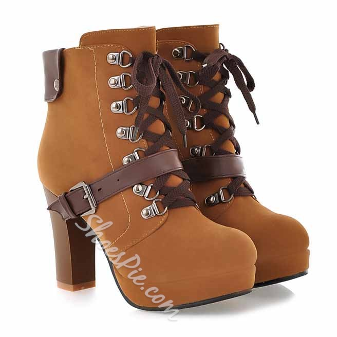 Shoespie Moto Style Lace up Chunky Heel Ankle Boots