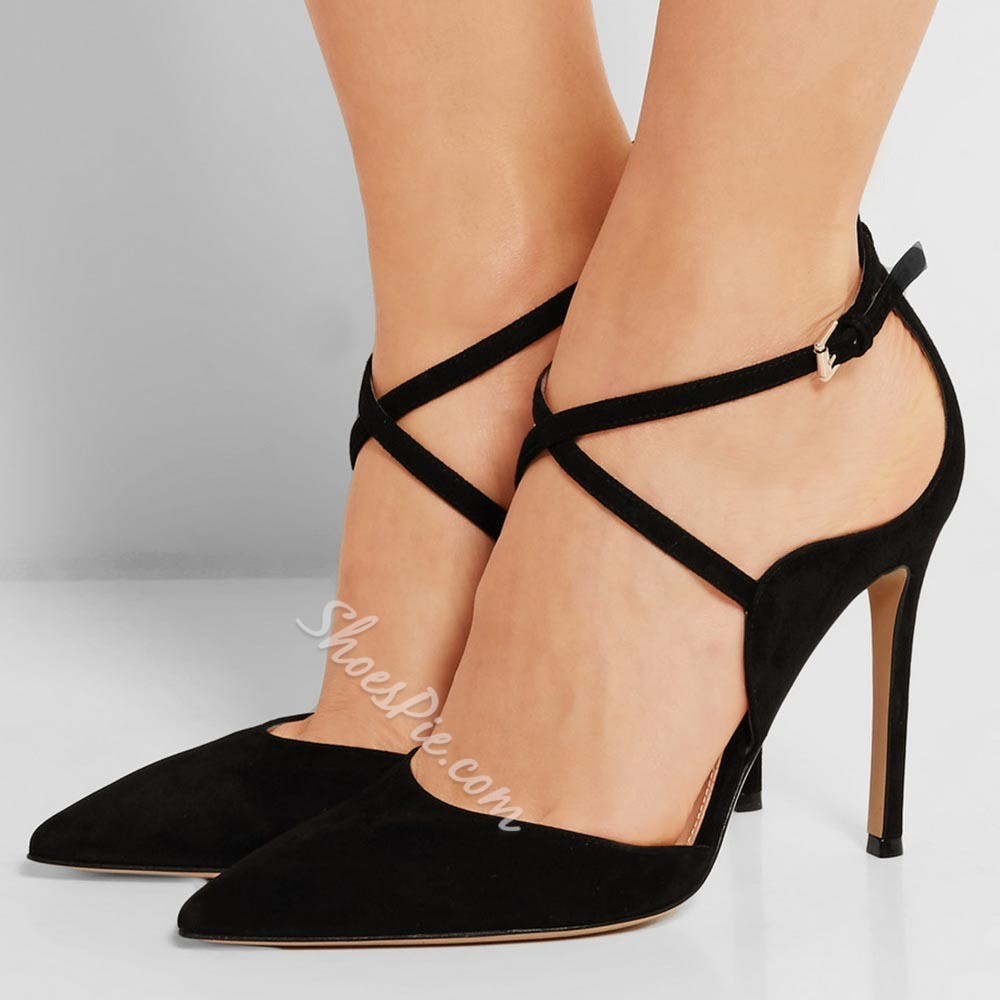 Shoespie Black Strappy Pointed Stiletto Heels