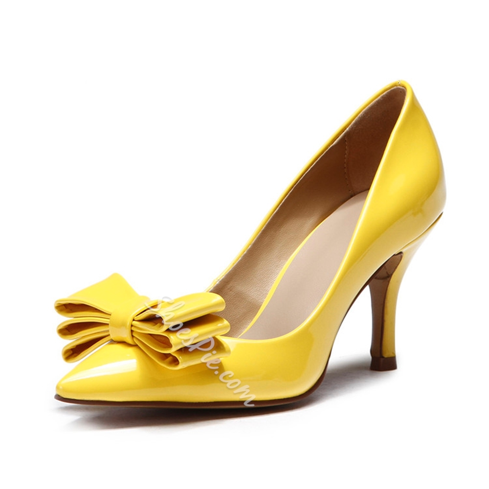 Shoespie Yellow Bowtie Stiletto Heels