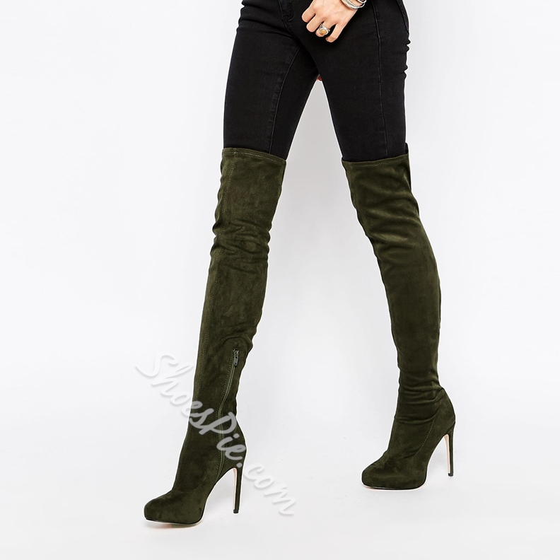 Shoespie Suede Zippers Thigh High Boots