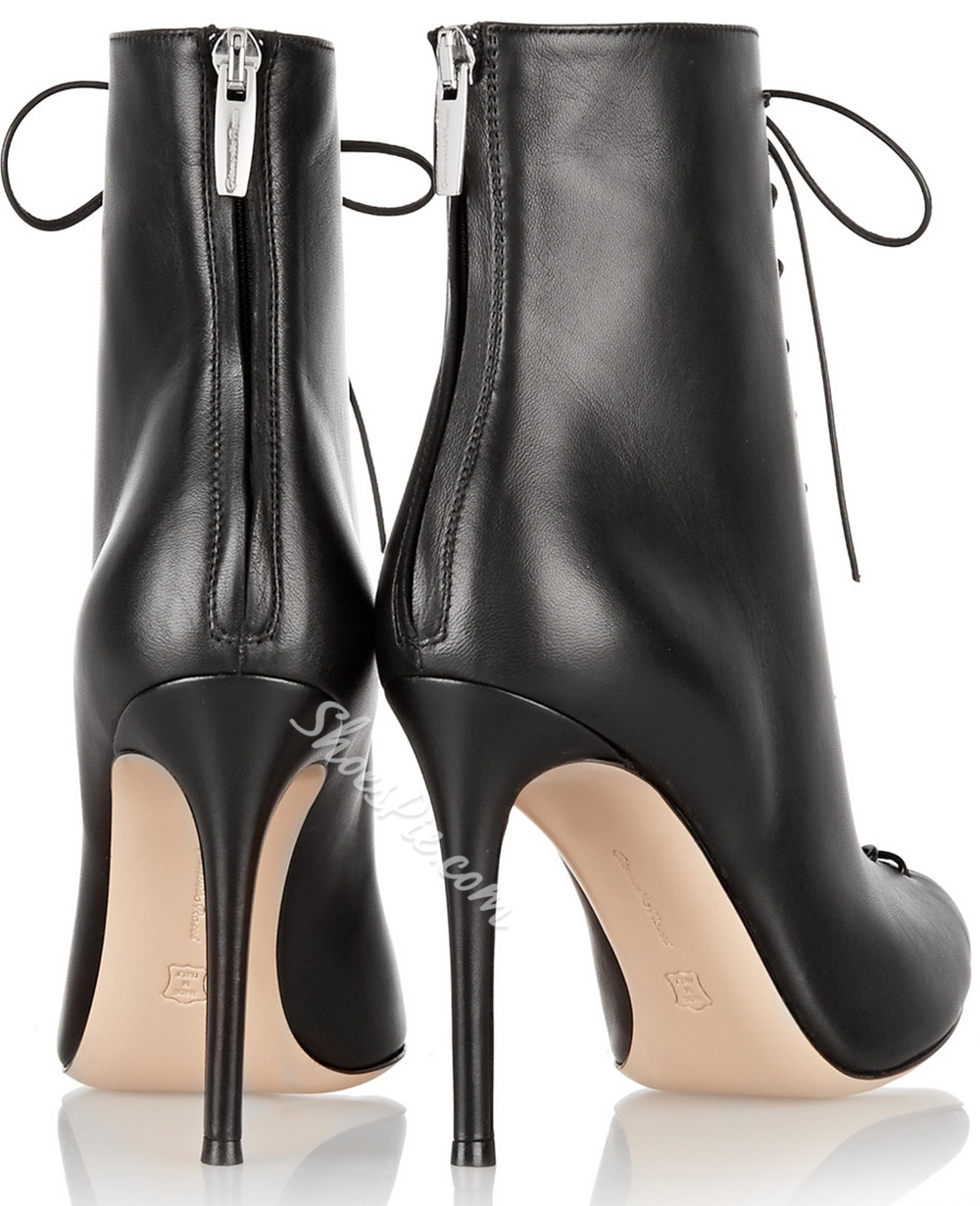 Shoespie Black Lace up Stiletto Heels Ankle Boots