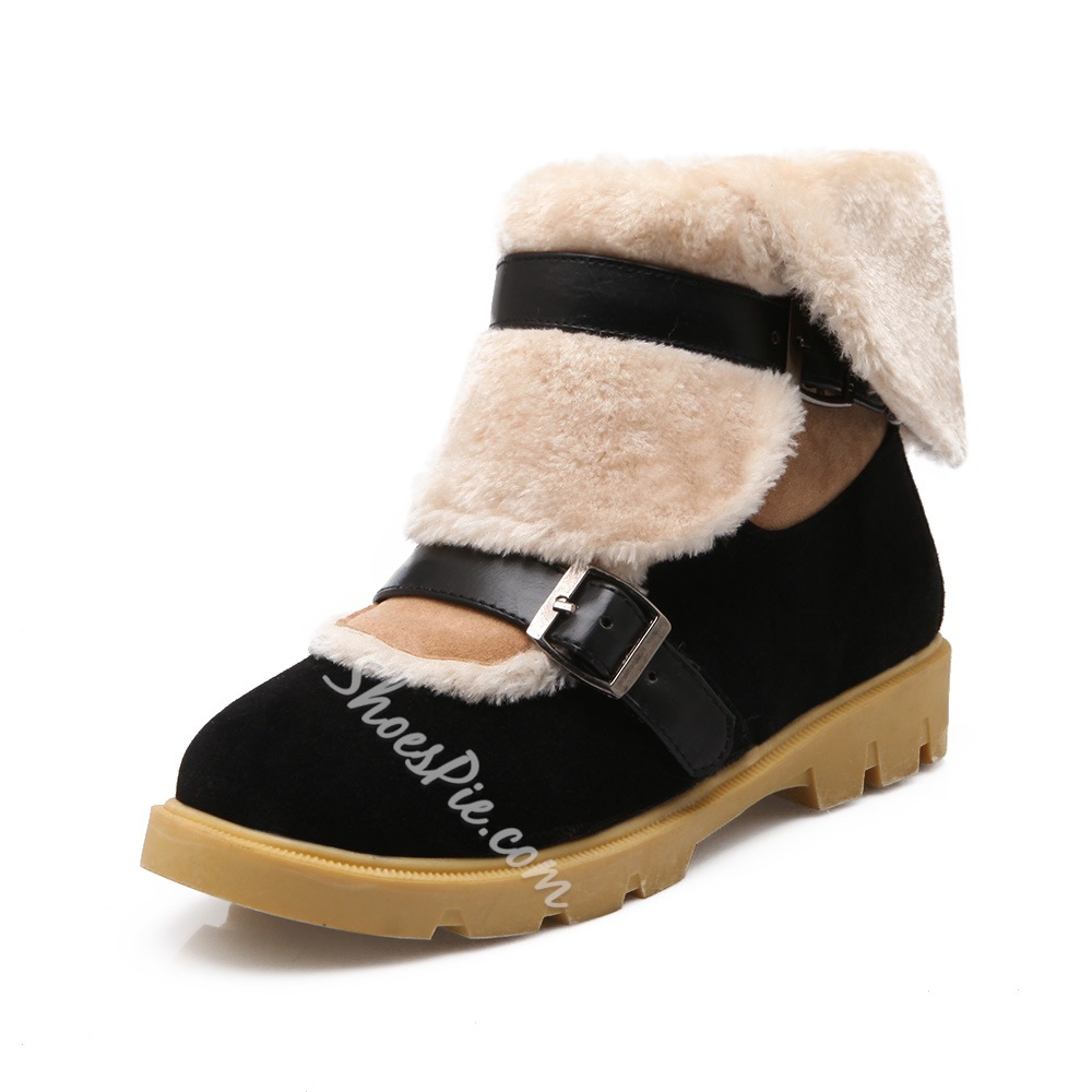 Shoespie Plush Buckles Flat Snow Boots