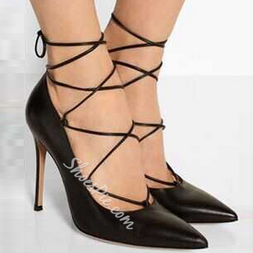 Shoespie Lace Up Pointed toe Stiletto Heels