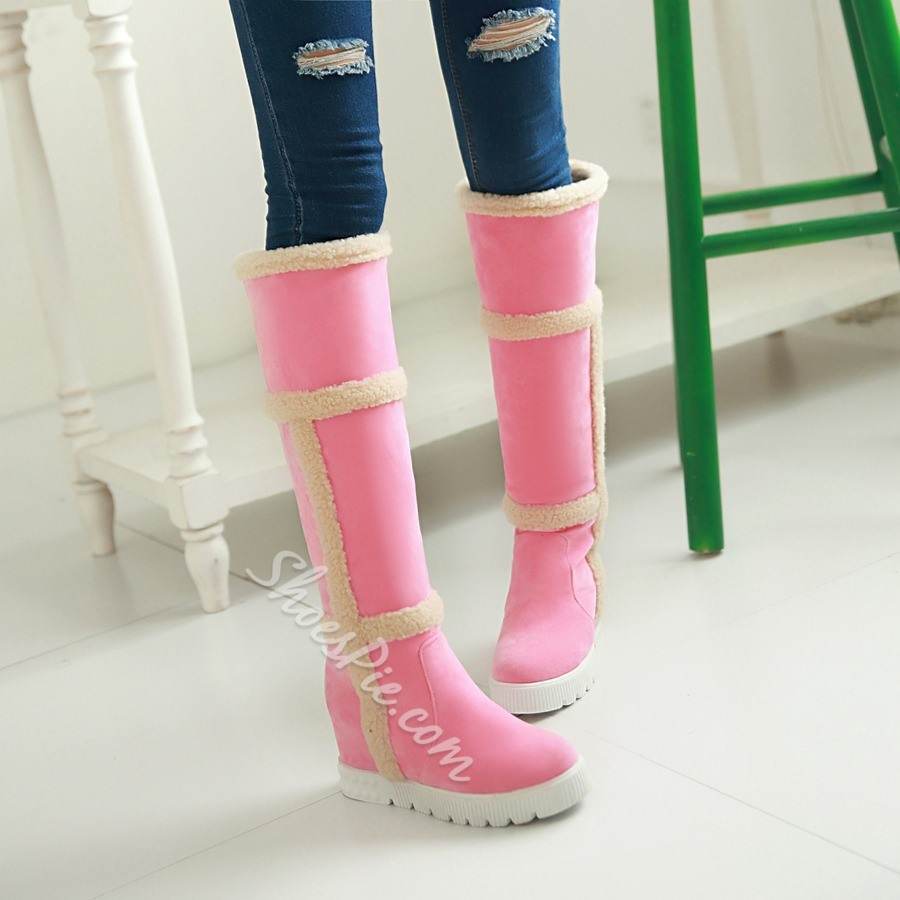 Shoespie Concise Plush Side Knee High Snow Boots