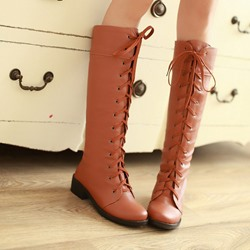 Shoespie Lace up Flat Knee High Boots
