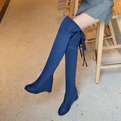Shoespie Suede Back Lace up Thigh High Boots