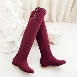 Shoespie Rivets Decoration Knee High Boots
