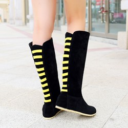 Shoespie Suede Back Colors Contrast Flat Boots