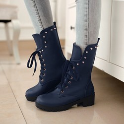 Shoespie Rivets Lace up Round toe Flat Boots