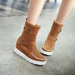 Shoespie Nubuck Buckles Wedge Boots