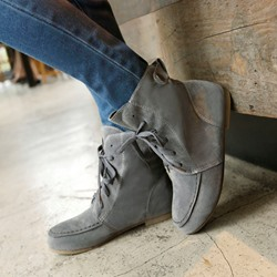 Shoespie Fashion Nubuck Lace up Flat Boots