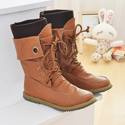 Shoepie Lace Up Flat Ankle Boots
