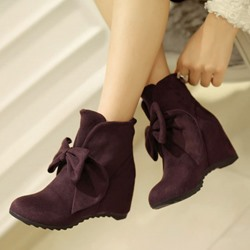 Shoespie Suede Bowtie Flat Boots