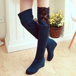 Shoespie Suede Lace Assorted Thigh High Boots