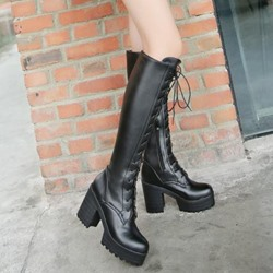 Shoespie Lace up Chunky Heel Knee High Boots