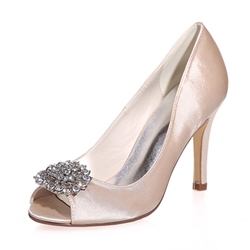 Shoespie Silk Rhinestone Peep-toe Stiletto Heels