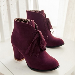 Chic Lace UP Low Heel Ankle Boots