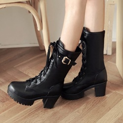Shoespie Lace up Buckles Mid Calf Boots