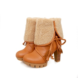 Shoespie Chunky Heel Ankle Snow Boots