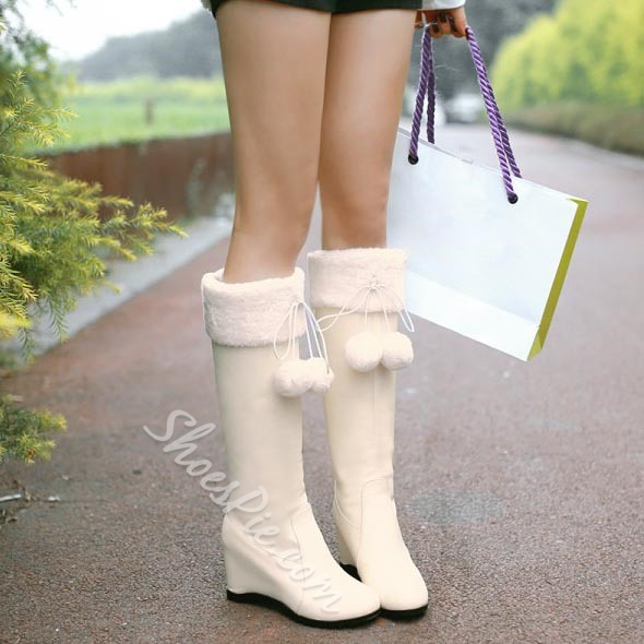 Shoespie White Plush Wedge Knee High Boots
