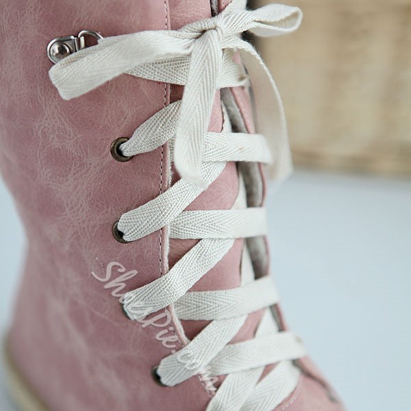 Shoespie Candy Color Lace up Flat Boots