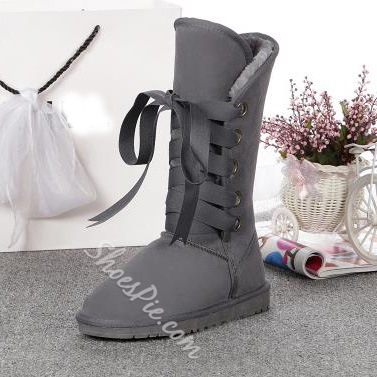 Shoespie Lace up Mid-calf Snow Boots