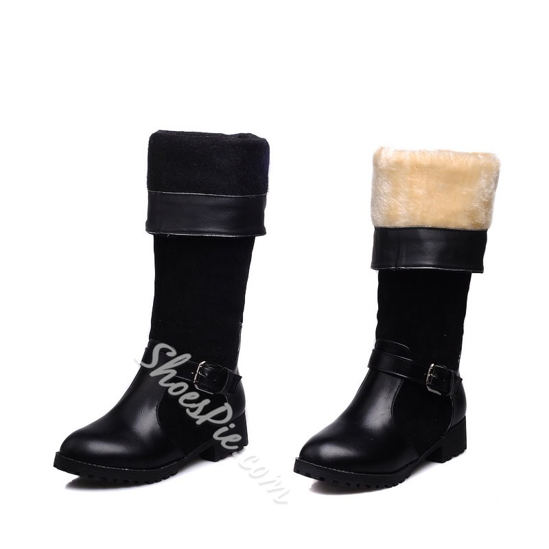 Shoespie Materials Contrast Knee High Buckle Boots