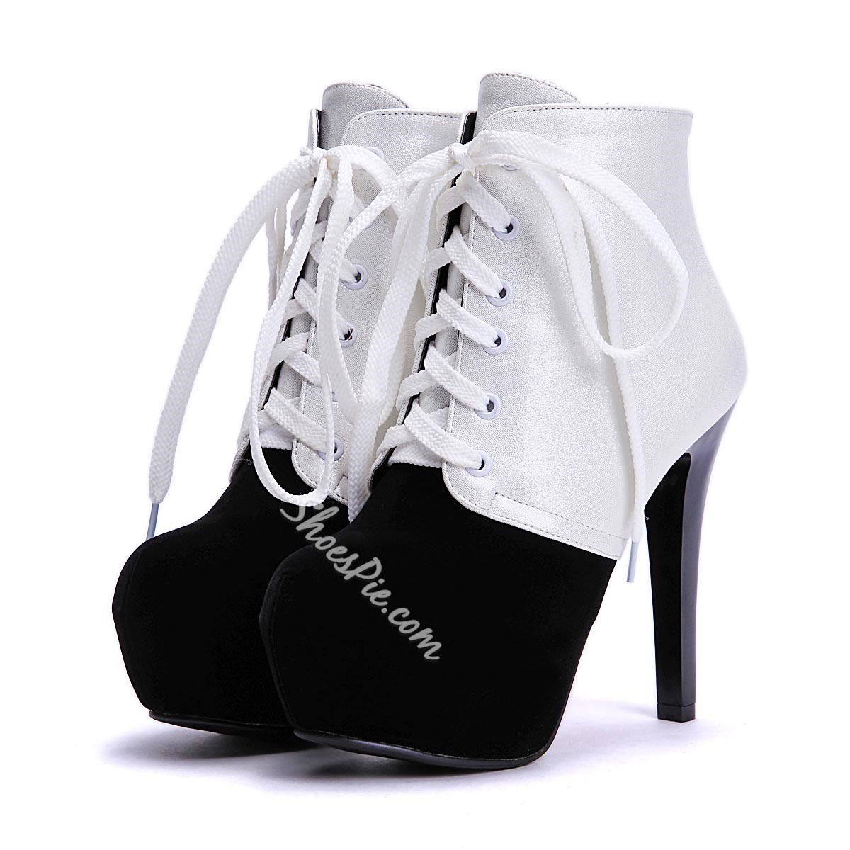 Shoespie Color Block Stiletto Heel Ankle Boots