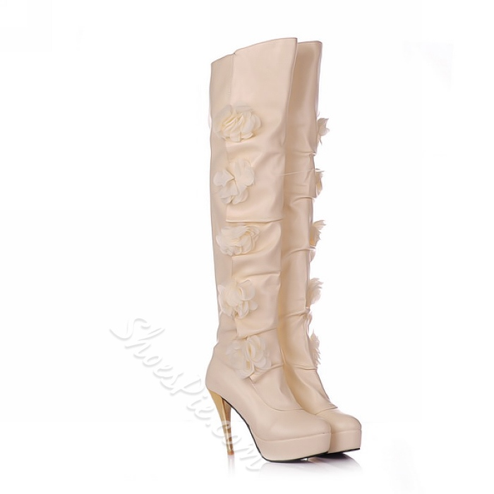 Shoespie Side Flower Decoration Thigh High Boots