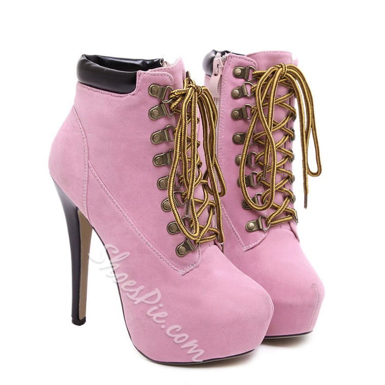Shoespie Nubuck Lace-up Ankle Boots
