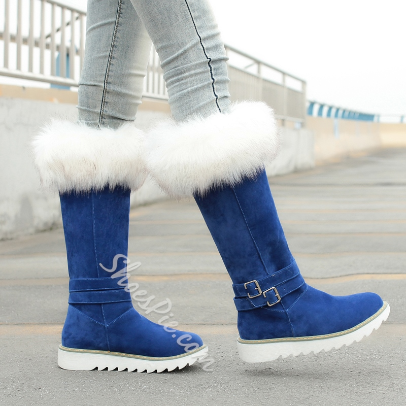 Shoespie Fur Knee High Snow Boots