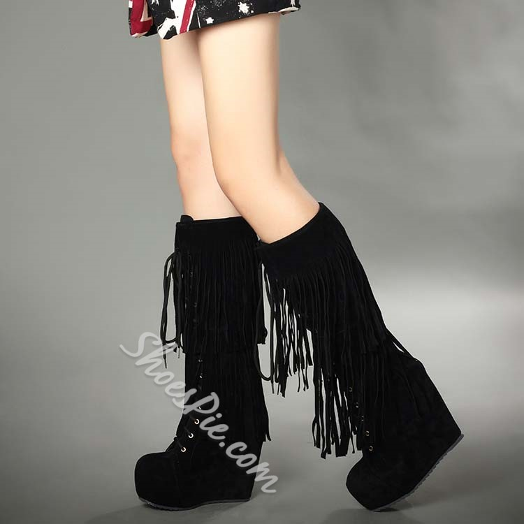 Shoespie Tassels Lace up Knee High Boots
