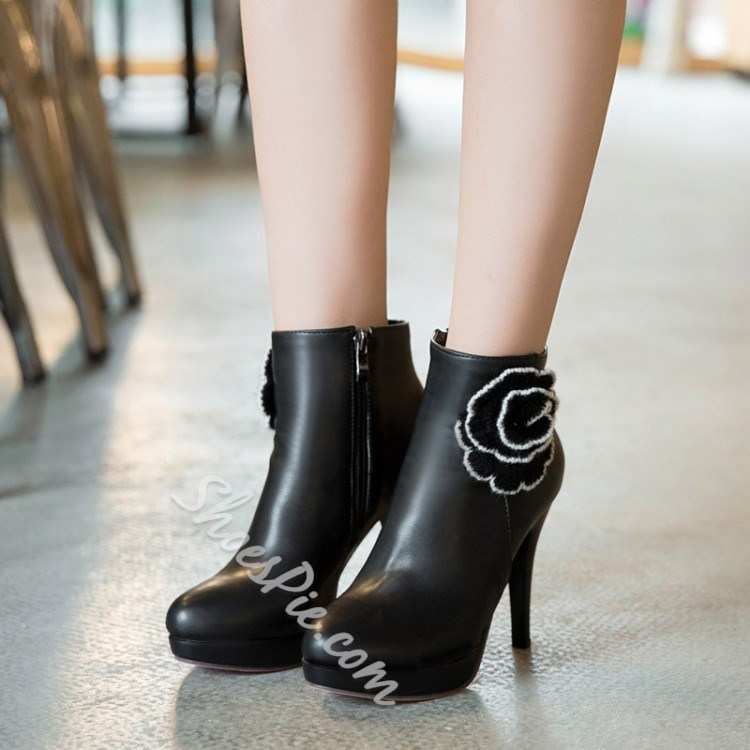 Shoespie Flower Stiletto Heel Ankle Boots