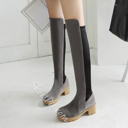 Shoespie Nubuck Materials Contrast Knee High Boots