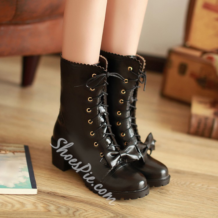 Shoespie Bowtie Lace up Flat Boots