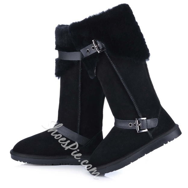 Shoespie Nubuck Buckles Knee High Snow Boots