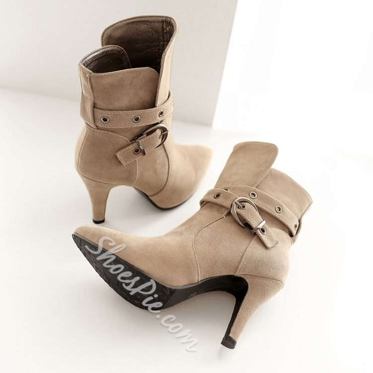 Solid Color Suede Metal Buckles Stiletto Heels