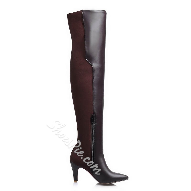 Shoespie Button Decoration Over Knee High Boots