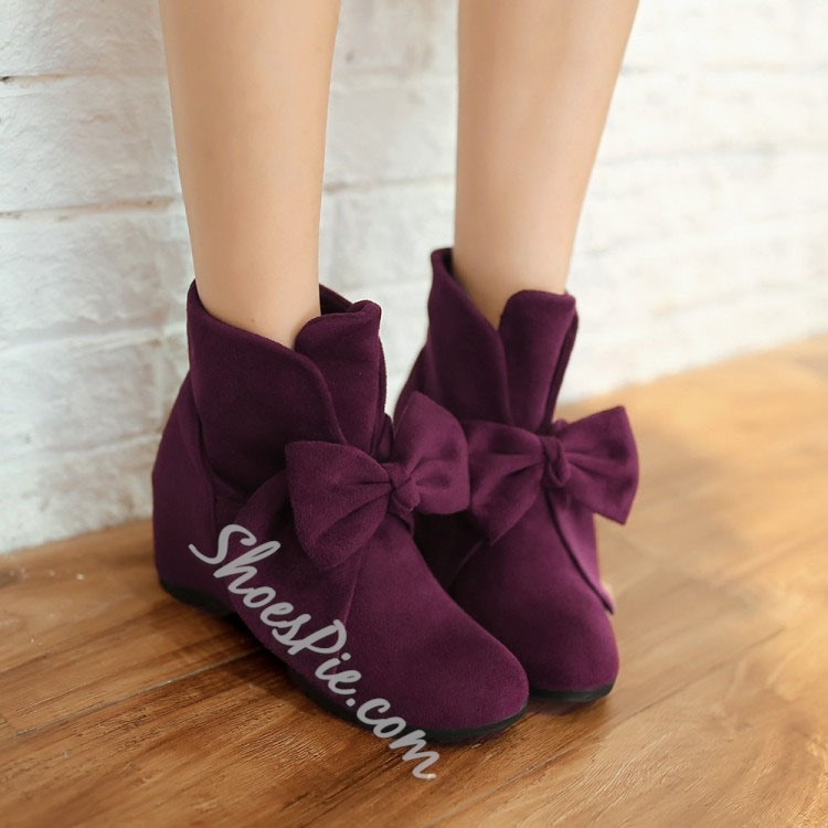 Shoespie Casual Suede Bowtie Flat Boots