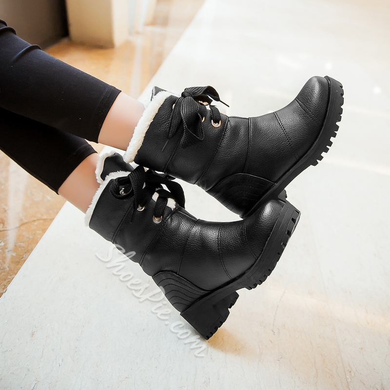 Shoespie Lace up Snow Boots